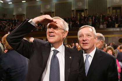 Senate Majority Leader Harry Reid (D-Nevada) and Senate Majority Whip Richard Durbin