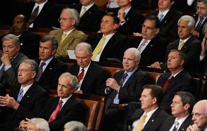 Republican Senators, center, row, from left, Sen. Christopher Bond, R-Mo., Sen. Mike Johanns, R-Neb., Sen. Jeff Sessions, R-Ala., Sen. John McCain, R-Ariz., and Sen. Lindsey Graham, R-S.C.