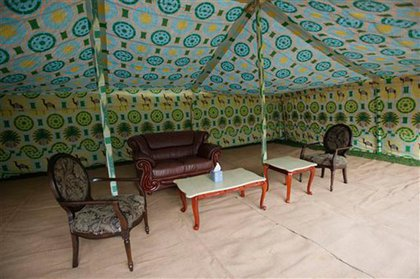Fancy furniture for a Bedouin tent fit for a LIibyan leader!