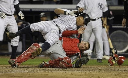 Alex Rodriguez collides at home with Jeff Mathis in the 5th inning.