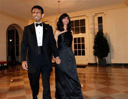 Louisiana Governor Bobby Jindal and his wife Supriya Jindal