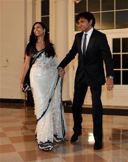 Director M. Night Shyamalan with wife Bhavna Shymalan