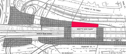 The grayed out area will be used for staging; Rodriquez asked the DOT to make the red area open for skating.