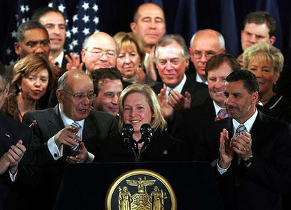 "Governor Paterson ended up appointing Rep. Kirsten Gillibrand, a ""blue dog Democrat,"" to take Clinton's Senate seat.  While her upstate appeal pleased some, others were unhappy about her gun control stance.  Some Democrats discussed running against her next year, but the White House has warned against doing so. And now the Republicans need to find a challenger—Rudy Giuliani dropped out after considering a Senate run for a little while."