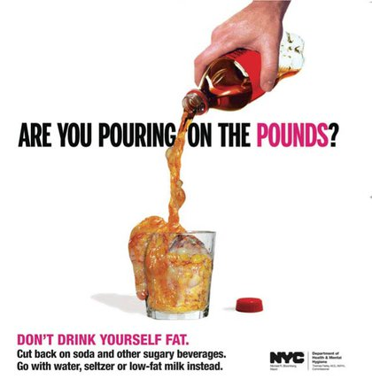 The Department of Health continued to warn about New Yorkers their diets, notably with ads equating soda to liquid fat (there's video too!), and other vices, like the disturbing smoking ads and graphic anti-smoking signs.