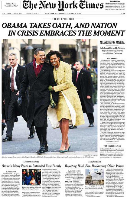 "President Obama was inaugurated and the nation swooned. And when Obama and First Lady Michelle headed to NYC for a date night at Blue Hill and a Broadway show in May, the city went into a frenzy.Obama's new history making status as the first black president has created some controversies. One unfortunate idea, though, was the ""Drunken Negro Face"" cookie. And when Post cartoonist Sean Delnoas decided to mix President Obama's stimulus package with the killing of a chimp that had mauled a Connecticut woman, it caused upset many and News Corp. chairman Rupert Murdoch even apologized."
