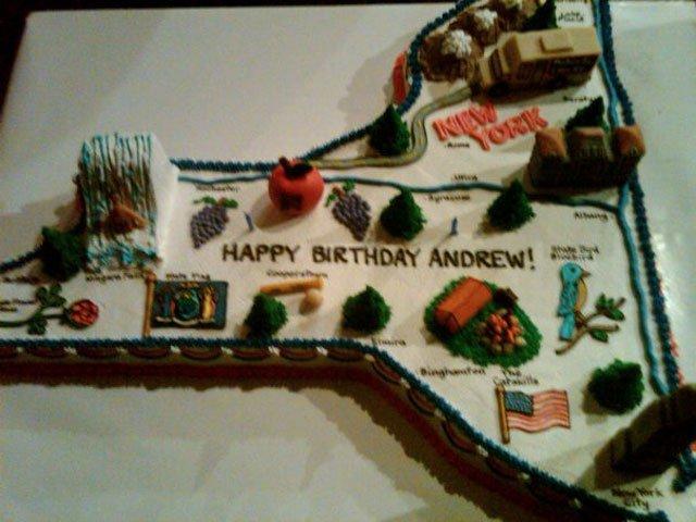 Super Andrew Cuomos Birthday Cake Shaped Like New York Gothamist Funny Birthday Cards Online Elaedamsfinfo