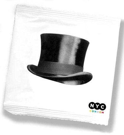 """Design by Russell Greenberg. According to the NYC Department of Health: """"Greenberg, 29, thinks his design will remind men to be gentlemen. 'Safe sex and good manners go hand in hand,' he says, 'and nothing symbolizes chivalry quite like a top hat.' A resident of the Financial District, Greenberg says his design was inspired by old photographs of New York City streets filled with men in top hats and women in evening gowns."""""""