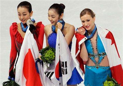 The medalists: Asada, Kim and Rochette