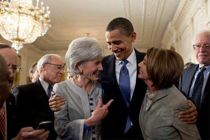 President Obama with Secretary of Health and Human Services Kathleen Sebelius and House Speaker Nancy Pelosi