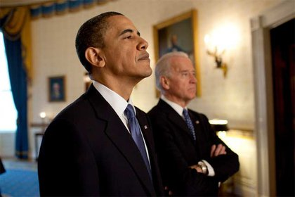 """President Obama and Vice President Biden before the bill signing and the """"big fucking deal"""" moment"""