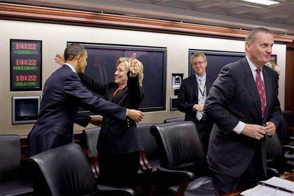 And, on Sunday, Secretary of State Hillary Clinton hugged President Obama.
