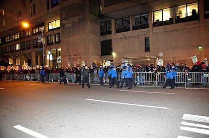The long line of protesters penned in by the NYPD