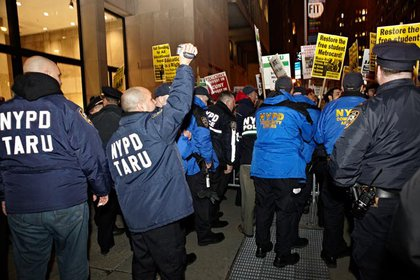 NYPD's Technical Assistance Response Unit films the protest
