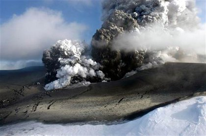 Smoke over the Eyjafjallajokull volcano