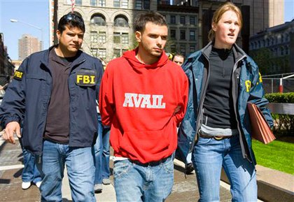 Federal agents escort Sal Anastasio, center, from Federal Plaza