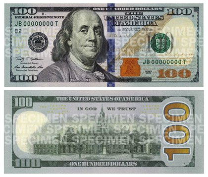 Front and back of the new $100 note.