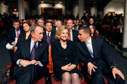 Mayor Bloomberg, Rep. Carolyn Maloney, and Governor Paterson