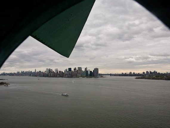 Looking left towards Manhattan out of the Statue of Liberty's Crown.