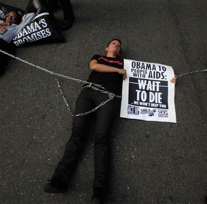 AIDS activists outside an Obama fundraiser