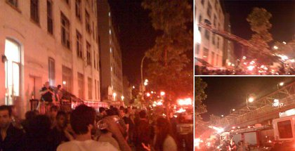 Photographs of the scene outside 141 S 5th Street earlier this morning