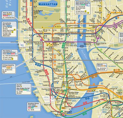 The new subway map features call-outs for busier hubs and a deeper blue for water