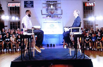 LeBron James and Jim Gray at the Greenwich Boys & Girls Club