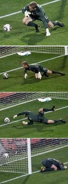 England's Robert Green was unable to stop Clint Dempsey's shot.