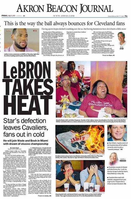 The Akron Beacon Journal, his hometown newspaper