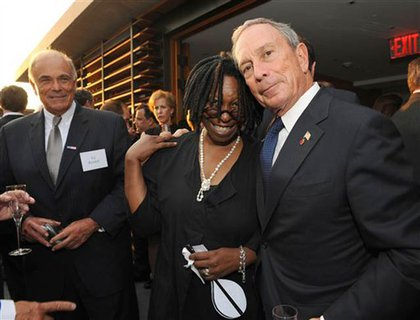 Ed Rendell looks on at Bloomberg with his good friend Whoopi Goldberg