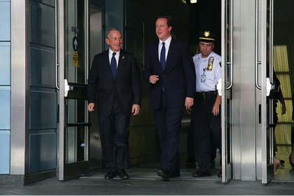 Bloomberg and Cameron emerge from Penn Station