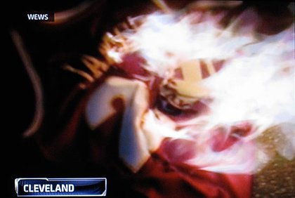 A burning LeBron jersey in Cleveland