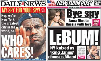 The New York tabloids are upset, but not upset enough to give him 100% space