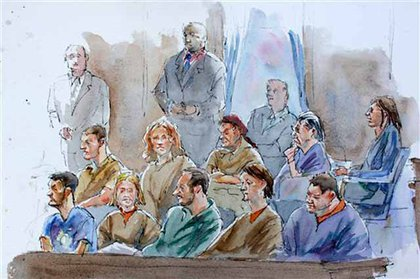 Courtroom sketch of (bottom row from right) Richard Murphy, Cynthia Murphy, Donald Howard Heathfield, Tracey Lee Ann Foley, Michael Zottoli, and (top row from right) Patricia Mills, Juan Lazaro, Vicky Pelaez, Anna Chapman, and Mikhail Semenko during their arraignment in Manhattan federal court yesterday