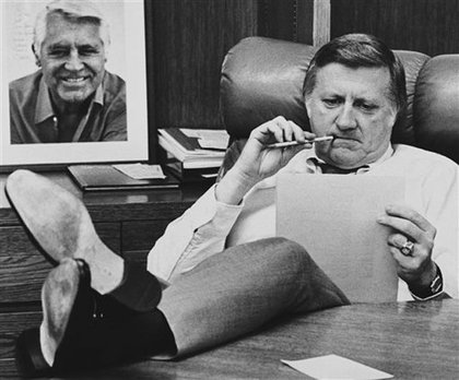 Photograph of George Steinbrenner at his desk before Game 2 of the 1981 World Series—and that's an autographed picture of Cary Grant