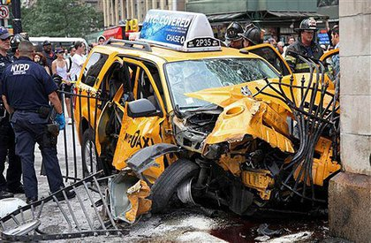 Another image of the crashed taxi