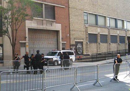 Cops outside the studio