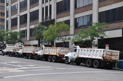 More sanitation trucks parked outside the other side of the ABC building that houses studios for the view