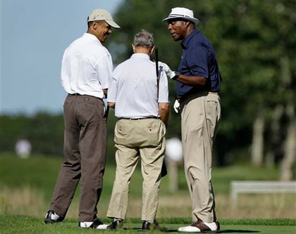 President Obama, Mayor Bloomberg and Vernon Jordan on the links