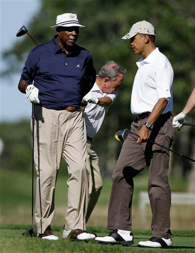 Bloomberg takes a swing as Jordan and Obama chat