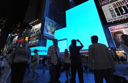 In Times Square, some billboards honored Mother Teresa
