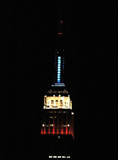 Red, white and blue lights in honor of the women's sufferage movement