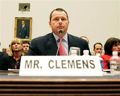 Clemens testifying (lying??!?!!) in February 2008
