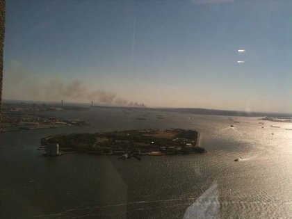 From a reader's office window—the fire on Staten Island in the distance