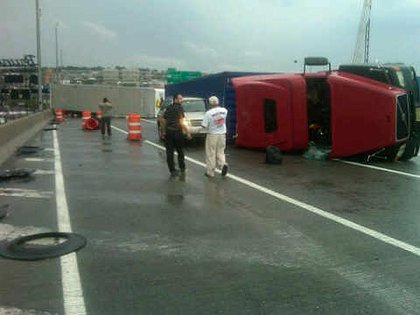 Overturned tractor trailer on the BQE