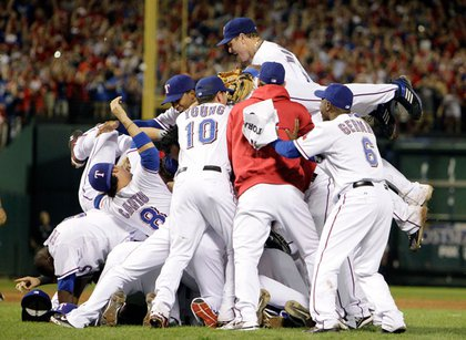 The Rangers celebrate winning the ALCS. They're heading to the World Series for the first time in franchise history.