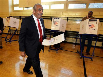 Rep. Rangel voted in Harlem this morning