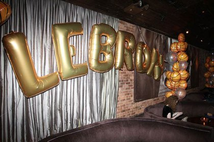 LEBRON in balloons at 1Oak