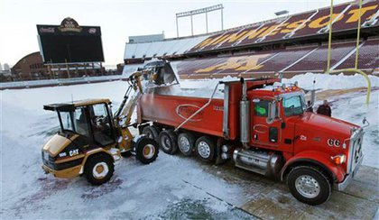 TCF Stadium, home of the University of Minnesota's football team, gets cleaned up in case the Vikings play there next.