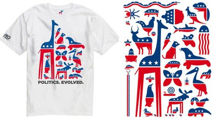 On the left, a t-shirt on the No Labels website; on the right, an array of animals on the More Party Animals website.
